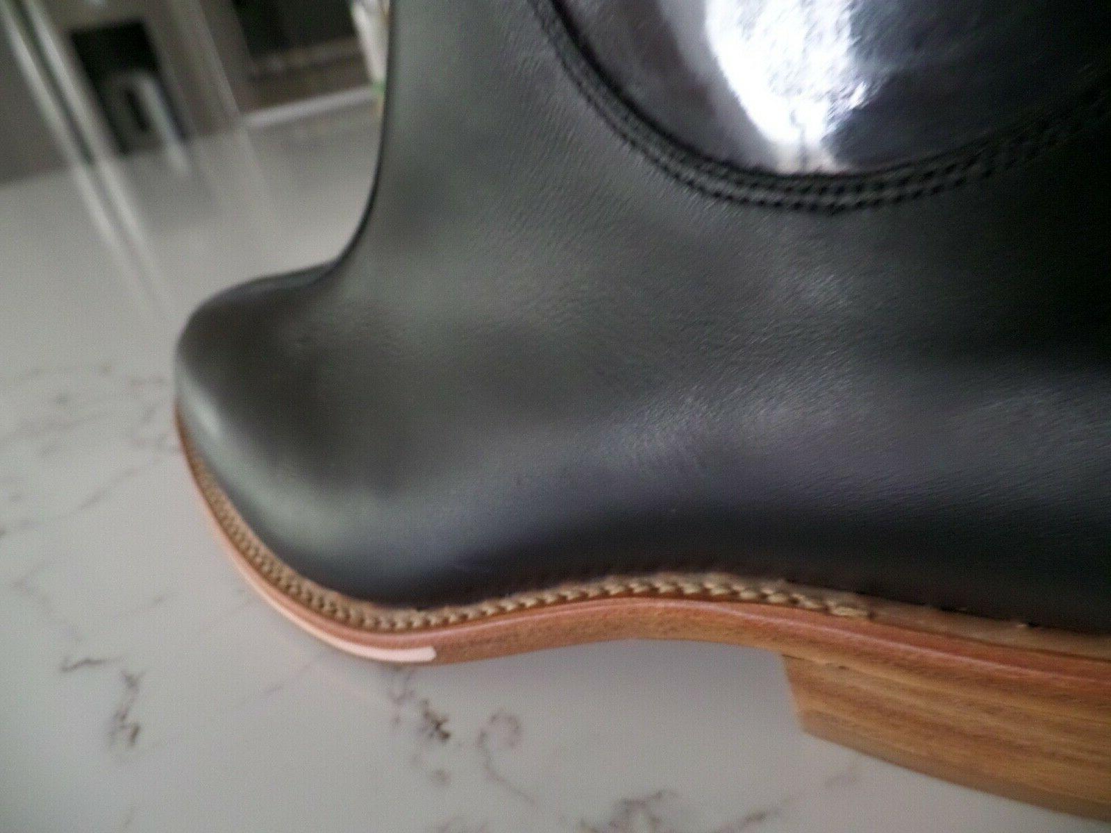 style ankle black leather boots sz 10