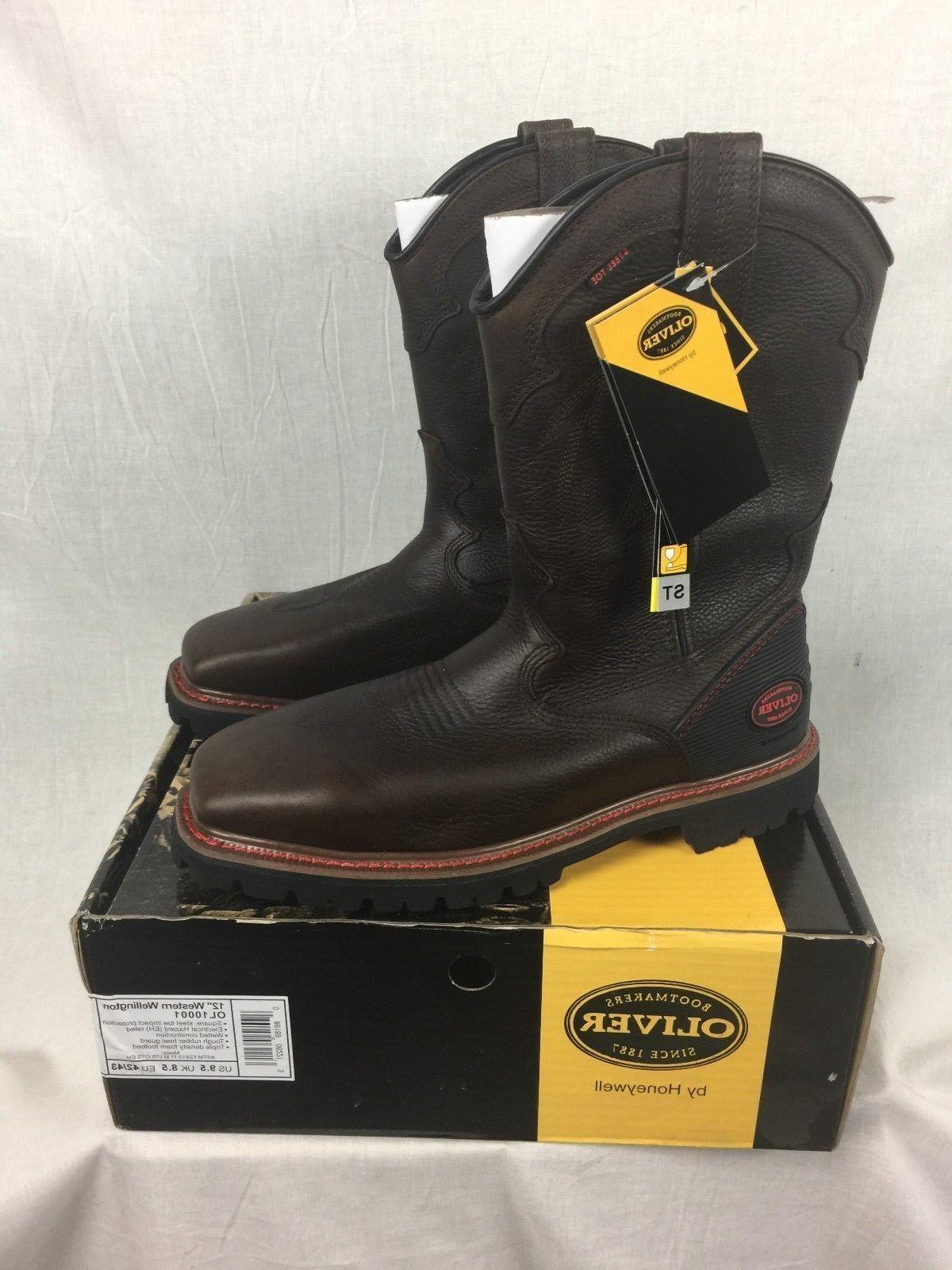 new western steel toe boots leather mens