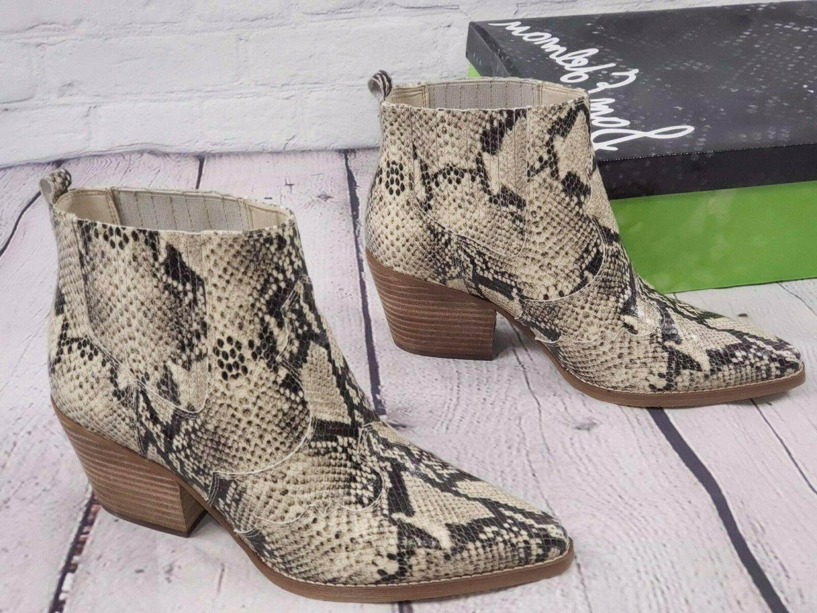 NIB - Edelman Western Leather Ankle Booties Snake Winona -