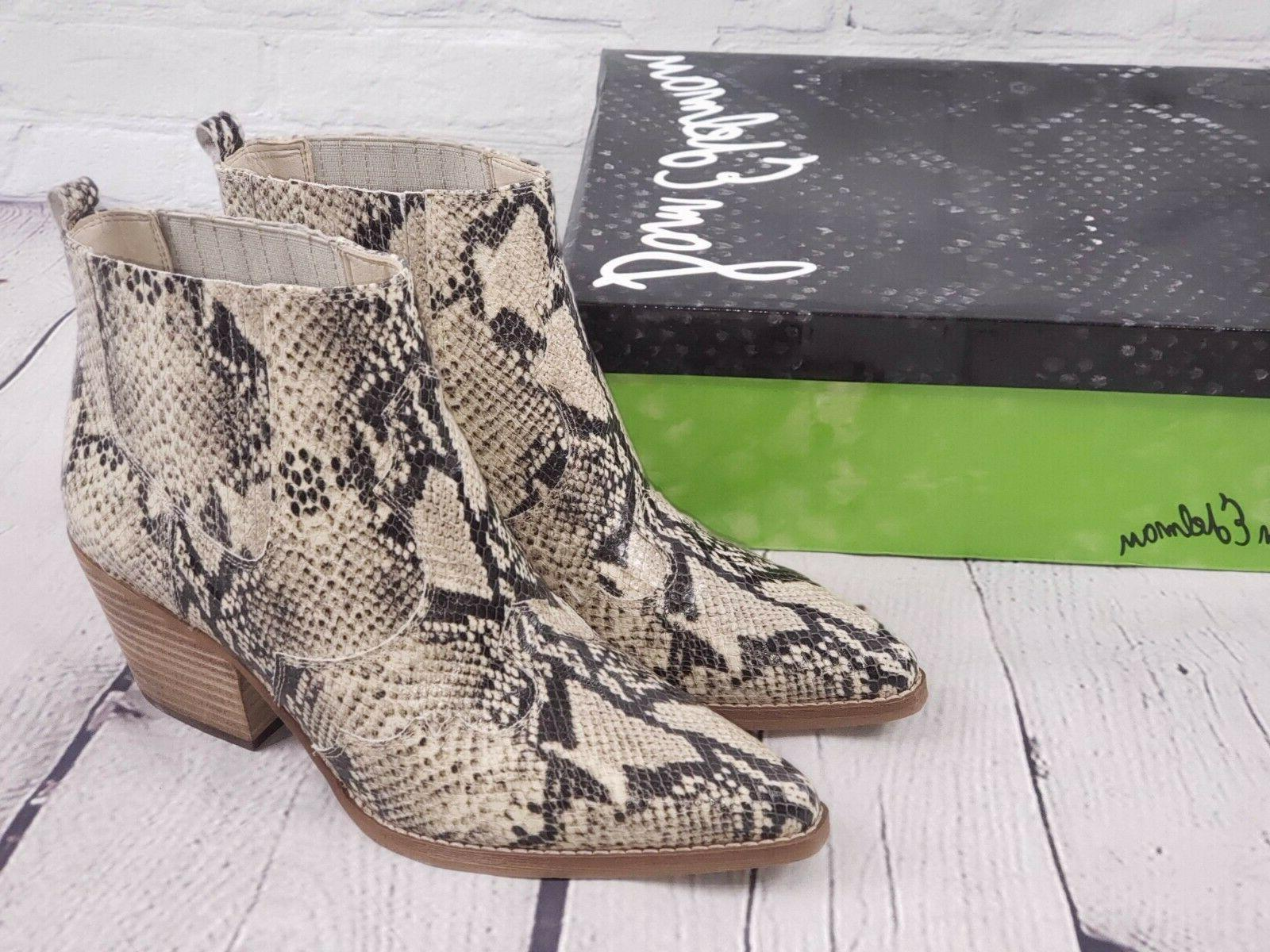 nib western leather ankle boots booties snake