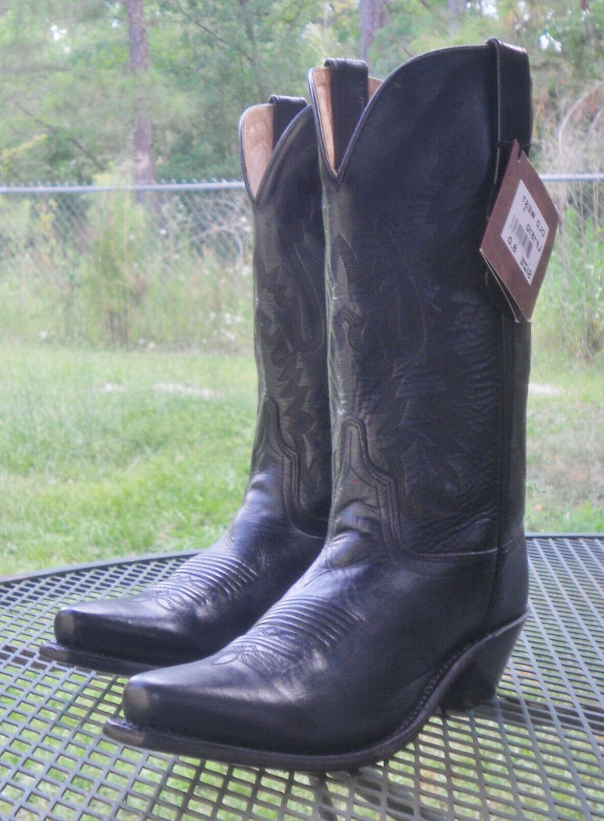 LEATHER WESTERN BOOTS Toe Womens 8