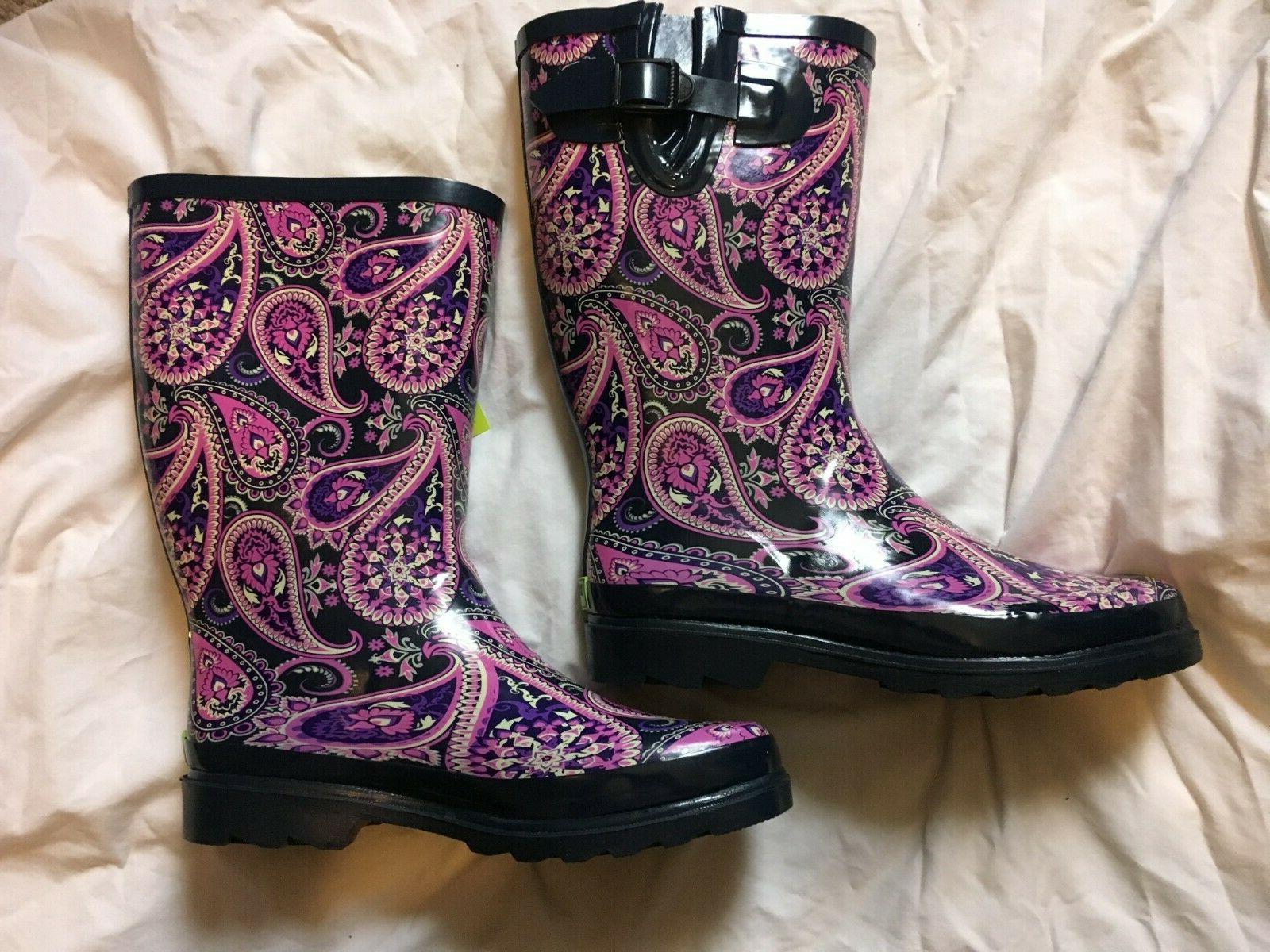 NWT Western Chief Boots, Waterproof Rain Snow Pink Paisley Blue