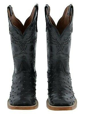 Ostrich Boots Square Toe Mens Black Genuine Leather Cowboy