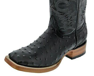Ostrich Toe Mens Leather Cowboy