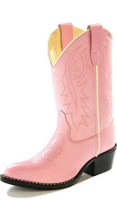 Old West Pink Childrens Girls Corona Leather J Toe Cowboy We