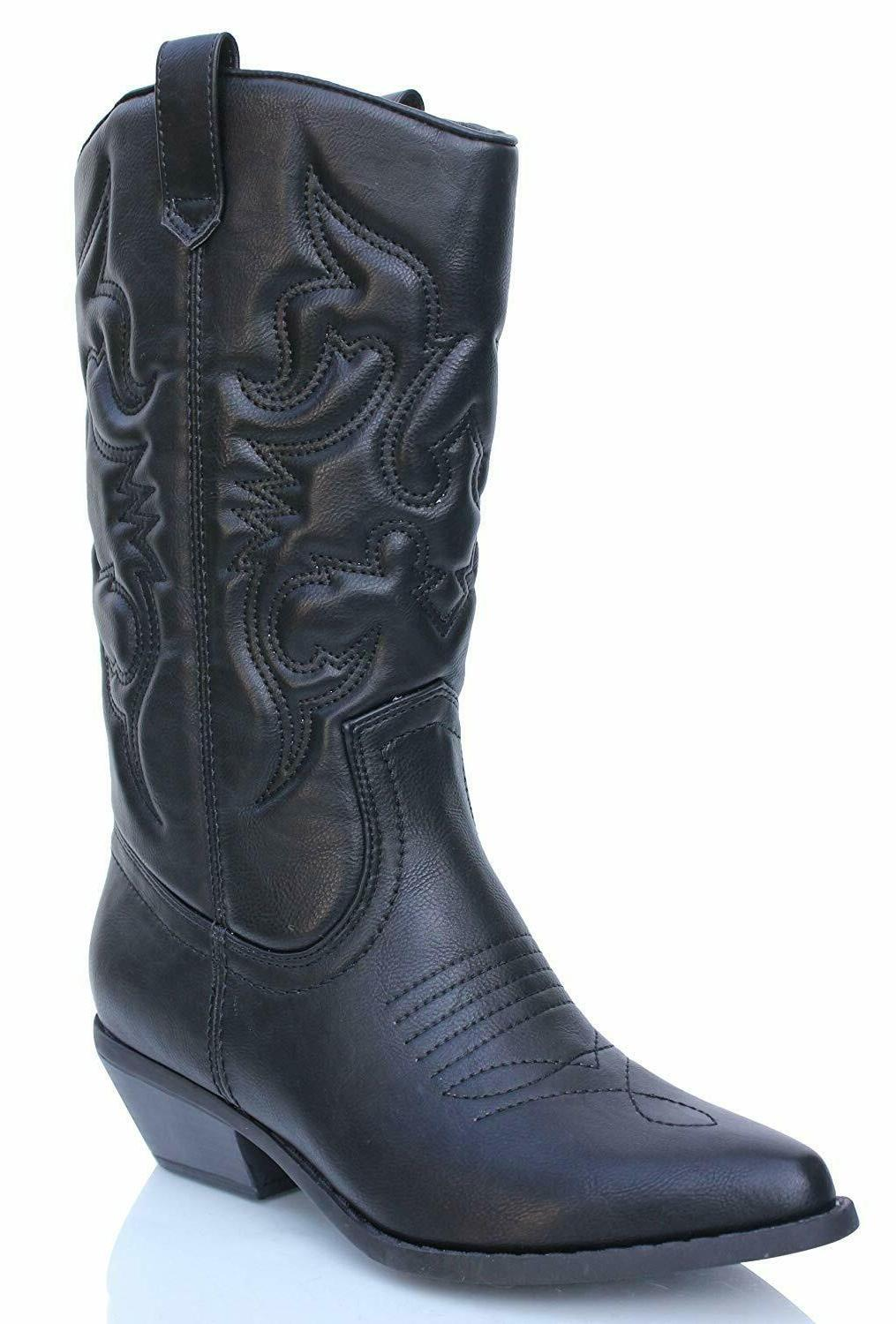 Soda Womens Black Synthetic Pull On Cowgirl Western