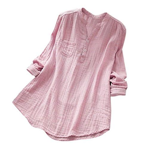 solid plus sleeve cotton loose