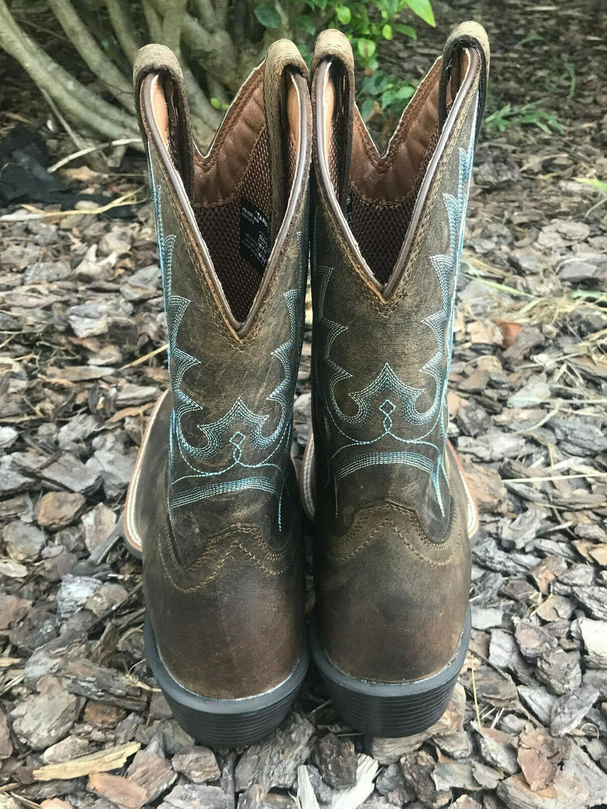 Ariat Brown/Blue Western Boots 10.5