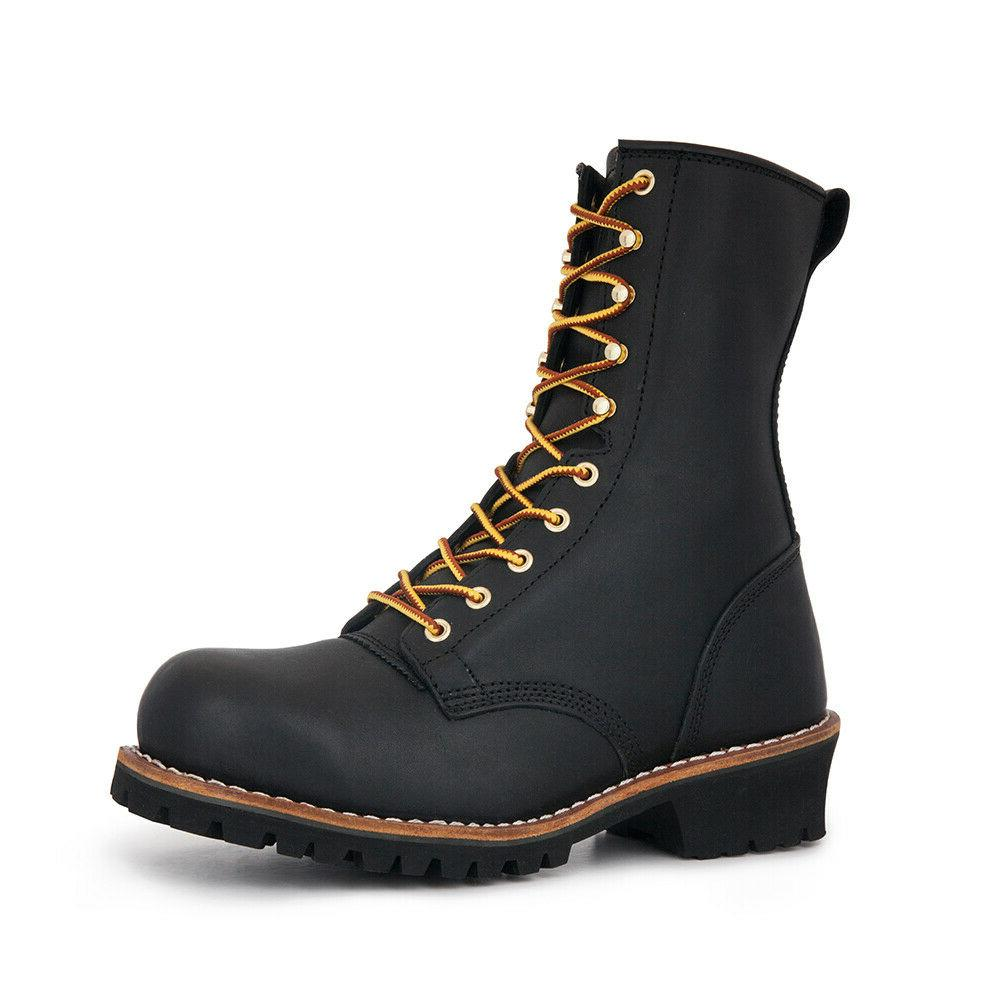 steel toe logger boots work boots anti