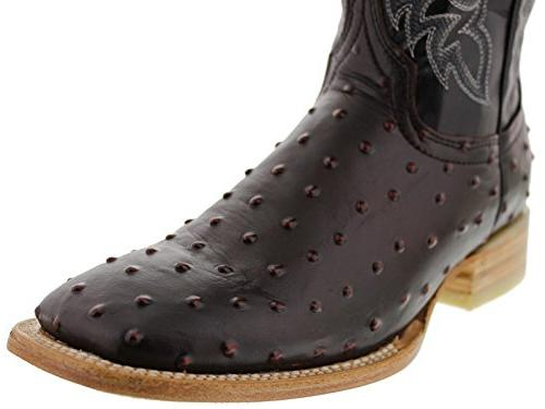 Texas Black Cherry Ostrich Quill Design Leather Square D US