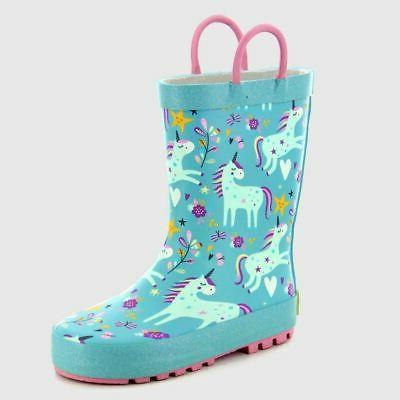 unicorn dance design teal rain boots girl