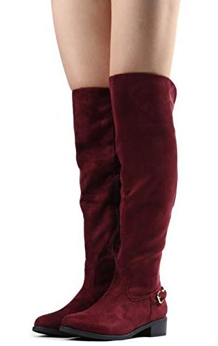 LUSTHAVE W8 Knee High Boots - Flat Stacked Heel Buckle SU 7.5