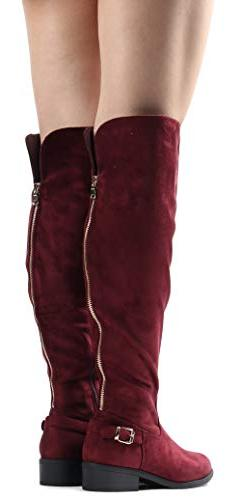 LUSTHAVE Women's Knee High - Flat Stacked Buckle Side SU 7.5