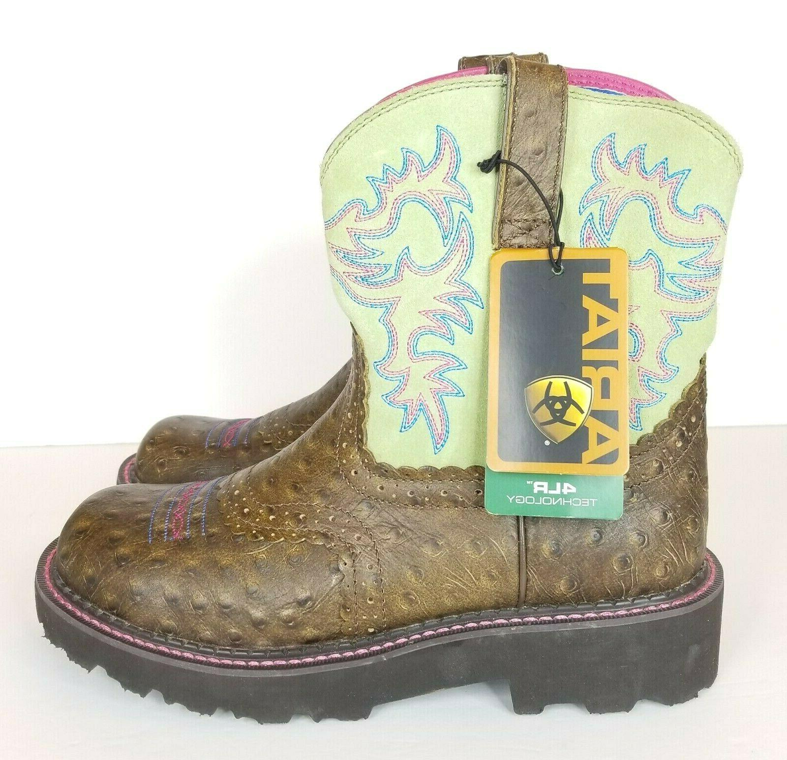 Ariat Western Boots Womens Fatbaby Cowboy Brown Lime 1001282