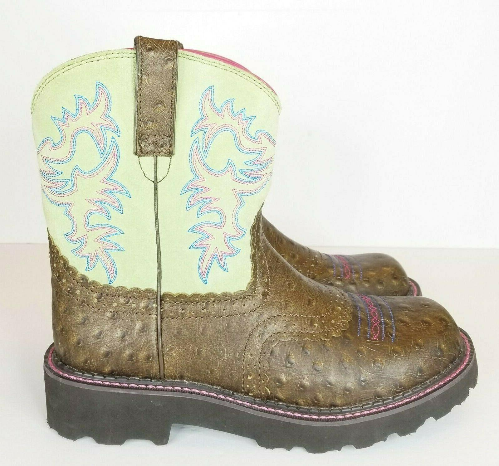 Ariat Western Womens Fatbaby Brown Lime