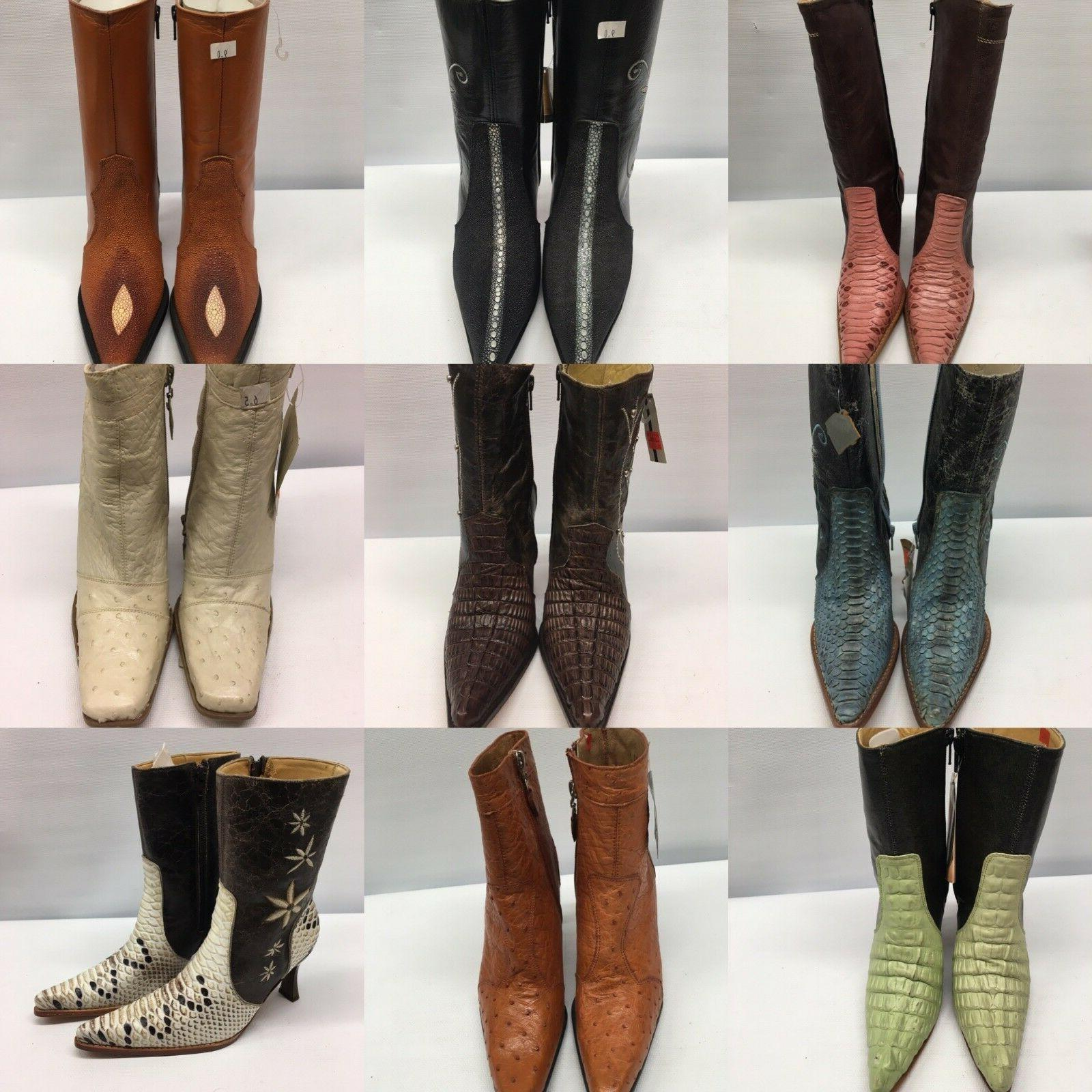 western cowboy high heel boots leather exotic