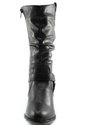 DailyShoes Womens Slouch Mid Ankle Strap Buckle Boots