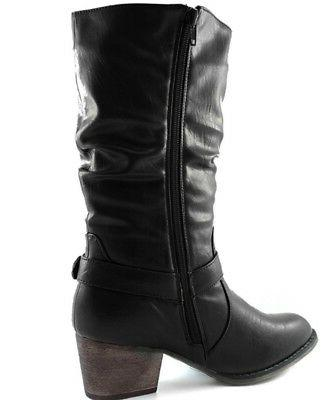 DailyShoes Western Slouch Mid Calf Buckle Cowboy