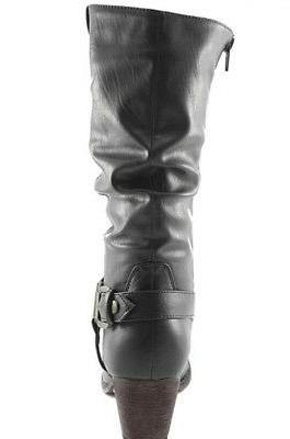 DailyShoes Western Womens Slouch Mid Calf Ankle Buckle Cowboy Boots