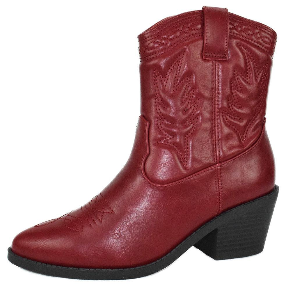 women cowgirl cowboy western stitched ankle boots