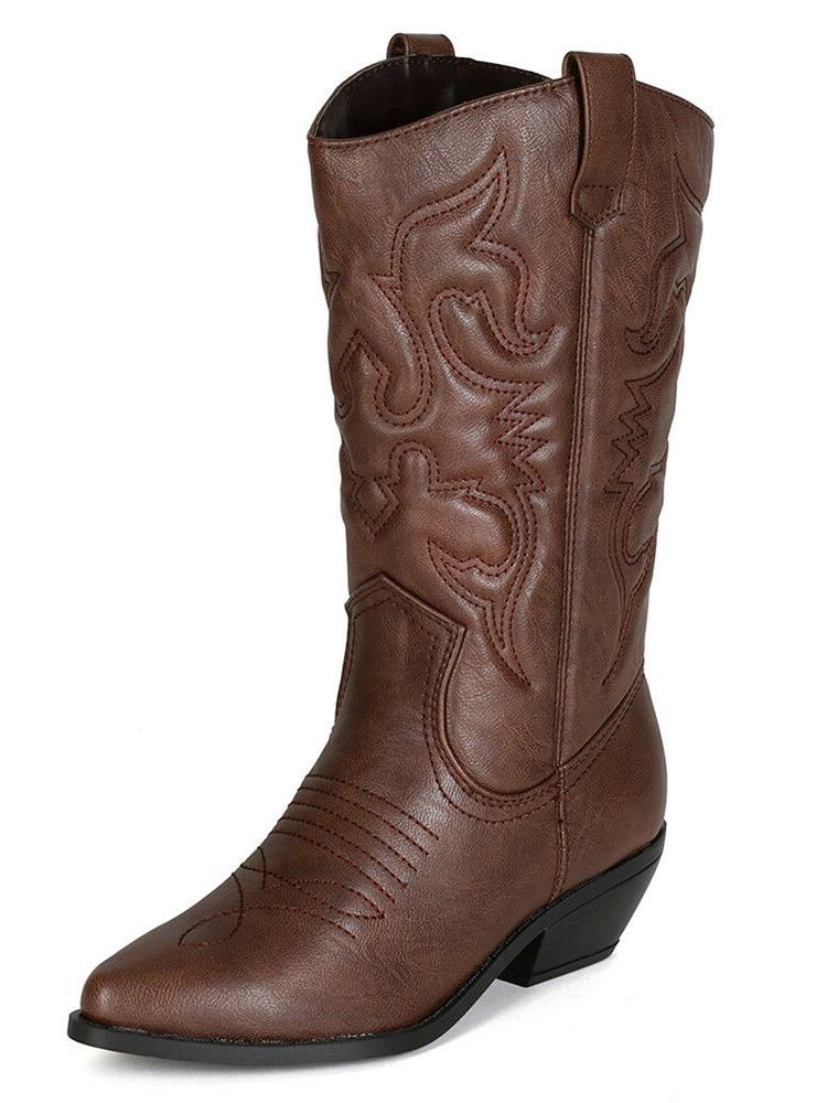 women cowgirl cowboy western stitched boots pointy