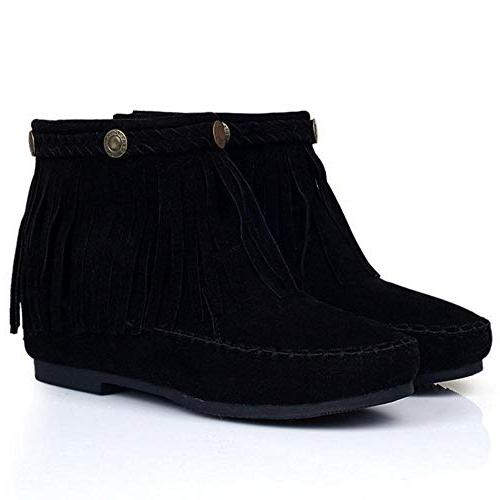 TAOFFEN Fringe Boots Low Heel Ankle Boots Zipper Mocassin Boots Toe Size 39