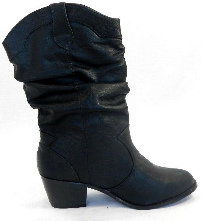 Women's Pu Mid High Western Shoes Size 6-10