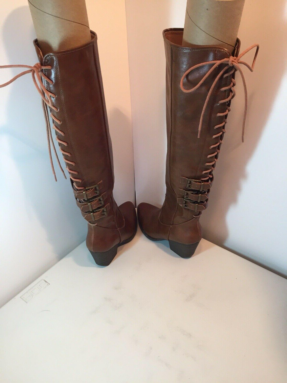 COCONUTS BY MATISSE Lace-Up Tigress Boots Cognac