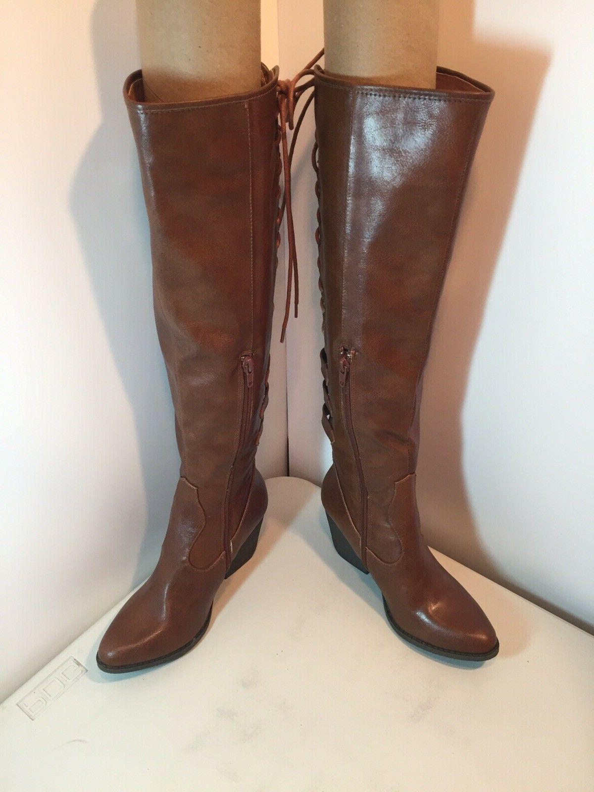 COCONUTS MATISSE Lace-Up Tigress Boots Cognac Size