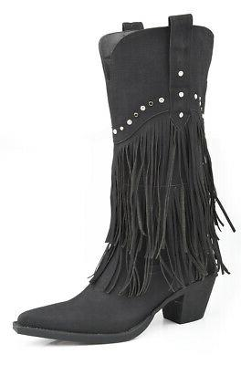 womens black distressed faux leather 12in fringe