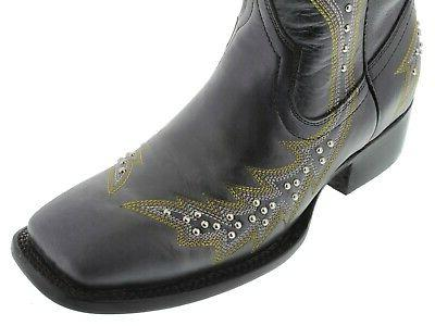 Womens Black Boots Studded Square