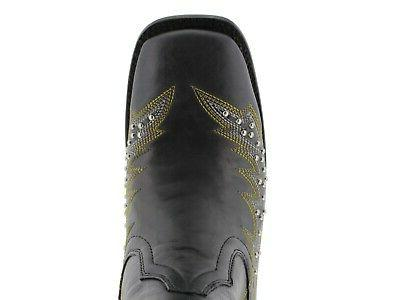 Womens Western Cowgirl Boots Silver Embroidered Square
