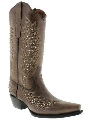 Womens Western Boots Studded Snip Toe