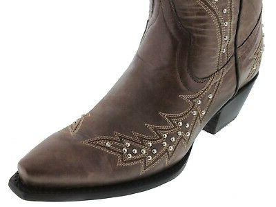Womens Brown Western Boots Silver Studded Snip Toe