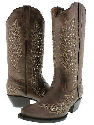 womens brown western cowgirl boots silver studded