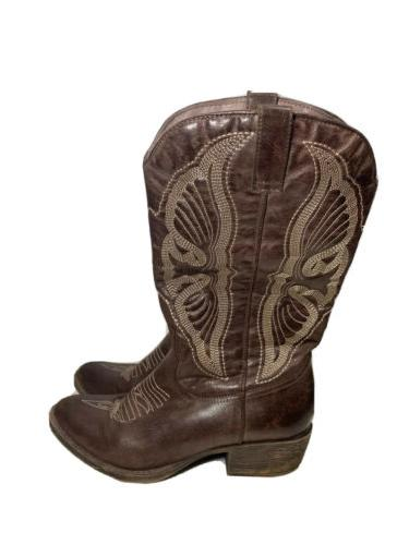 womens faux leather brown western boots embroidered