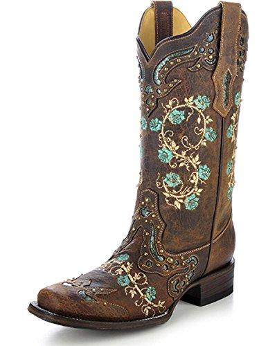 womens floral embroidery and studs square toe