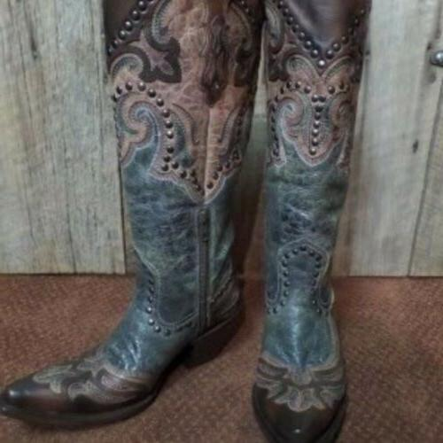 Womens Ladies Cowboy Boots Western Cowgirl Country Shoes Wid