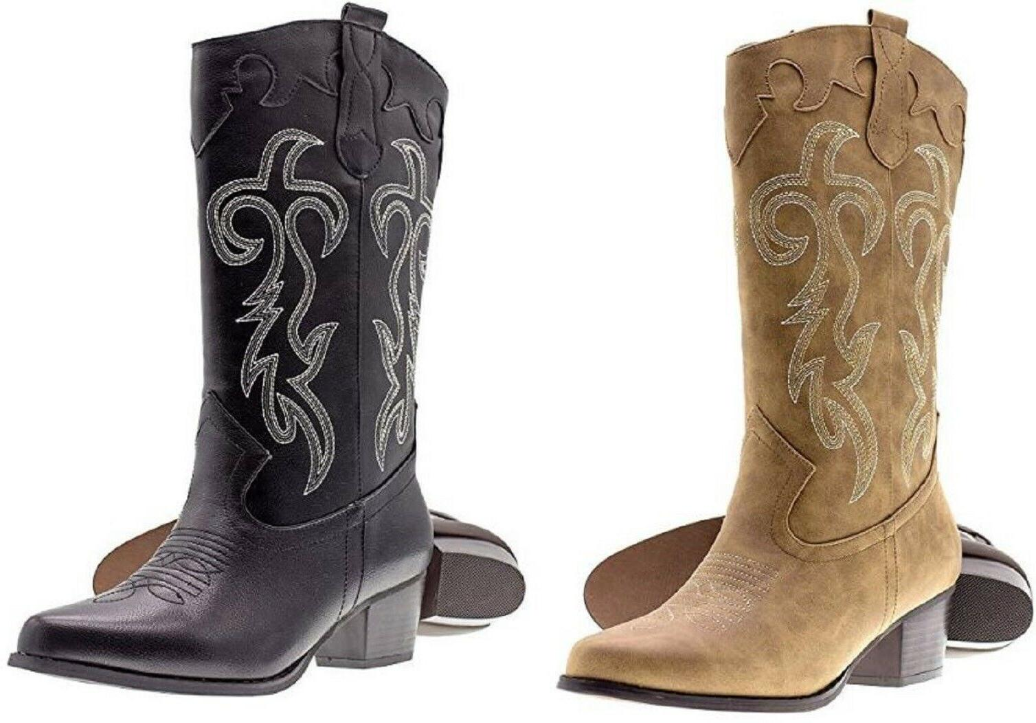 womens ladies faux leather western cowboy boots