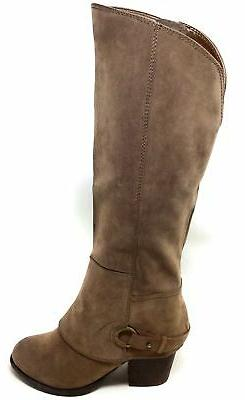 Fergalicious Womens Lexy Knee High Western Boots Taupe Suede