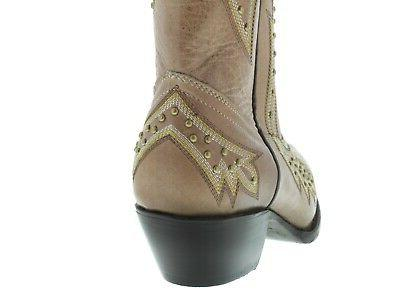 Womens Western Cowgirl Boots Studded Embroidered Snip