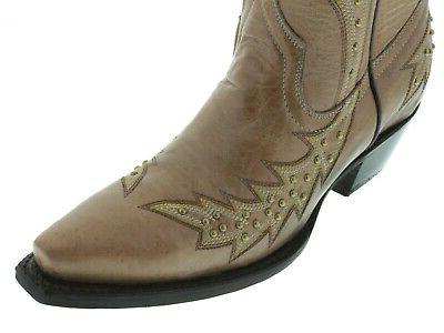 Womens Brown Cowgirl Boots Embroidered Snip Toe