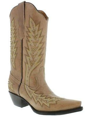 Womens Light Cowgirl Gold Embroidered Snip