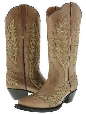 womens light brown western cowgirl boots gold