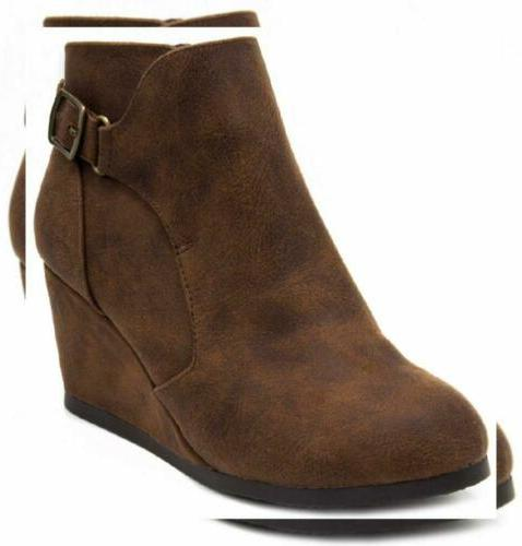 womens martha wedged ankle bootie with buckle
