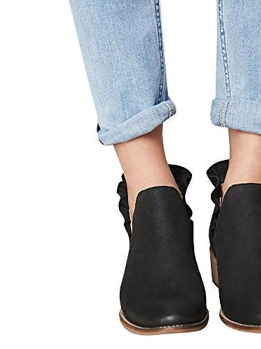 Bbalizko Boots Cut On Pointed Toe Chunky Low Heel