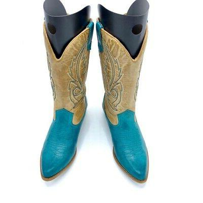 Coconuts Western Boots Turquoise Mid Calf