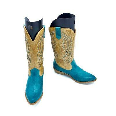 Coconuts Womens Western Cowboy Boots Turquoise Calf 7 New