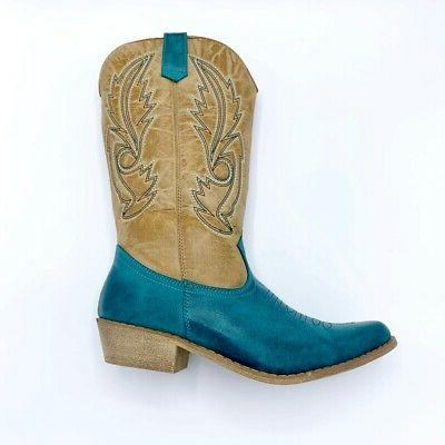womens western cowboy boots beige turquoise mid