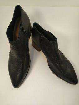 Ladies Lucky Brand Black Western Style Leather Ankle Cowboy